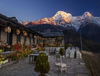 Sunset on Annapurna view from Gurung Cottage at Ghandruk