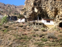 Milarepa Cave and monks retreat center in Tsum Valley