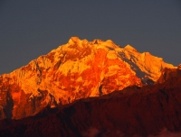 Beautiful sunset view on Annapurna and Barashikhar from Ghorepani