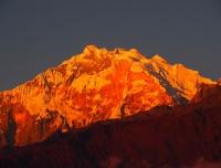 Beautiful sunset view on Annapurna and Barashikhar from Ghorepani