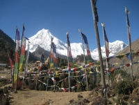 Buddhist Prayer Flags and Mt. Manaslu