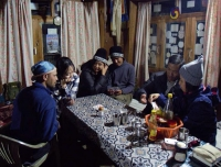 Trekker enjoy the card game after dinner in Langtang
