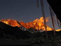 Sunset view on Mt. Lhotse from Dingboche