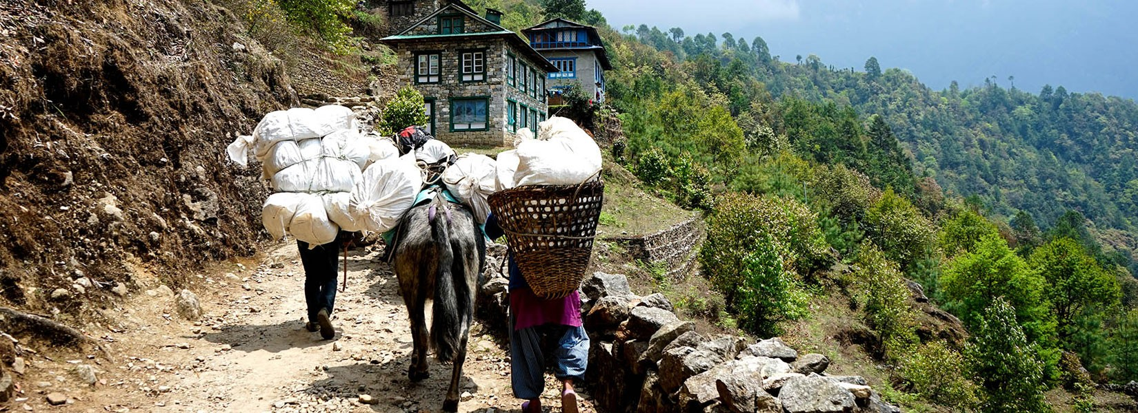 Porters on the way to Lukla