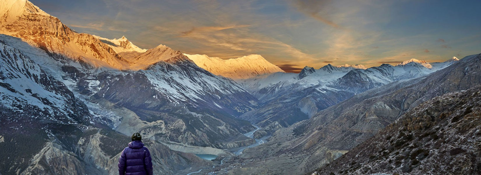 Stunning sunset on Annapurna Range, view from Manang