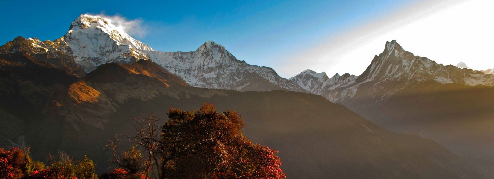 View of Annapurna South, Hiuchuli and Machhapuchhre from Tadapani in Ghorepani Poon Hill Trek