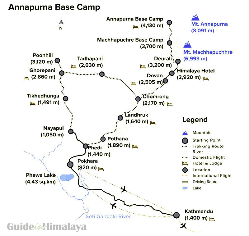 Annapurna Base Camp Route Map