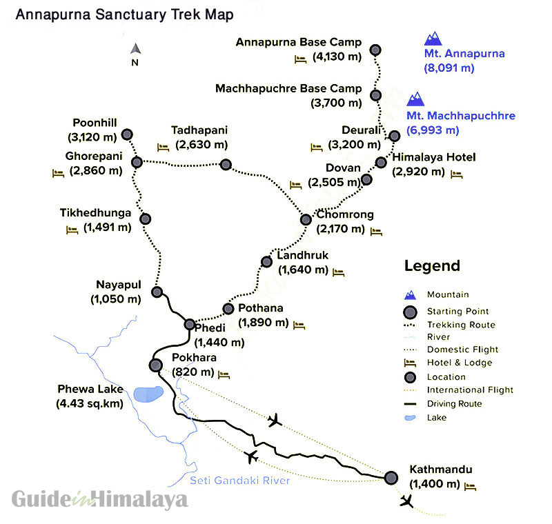 Annapurna Sanctuary Trekking Map