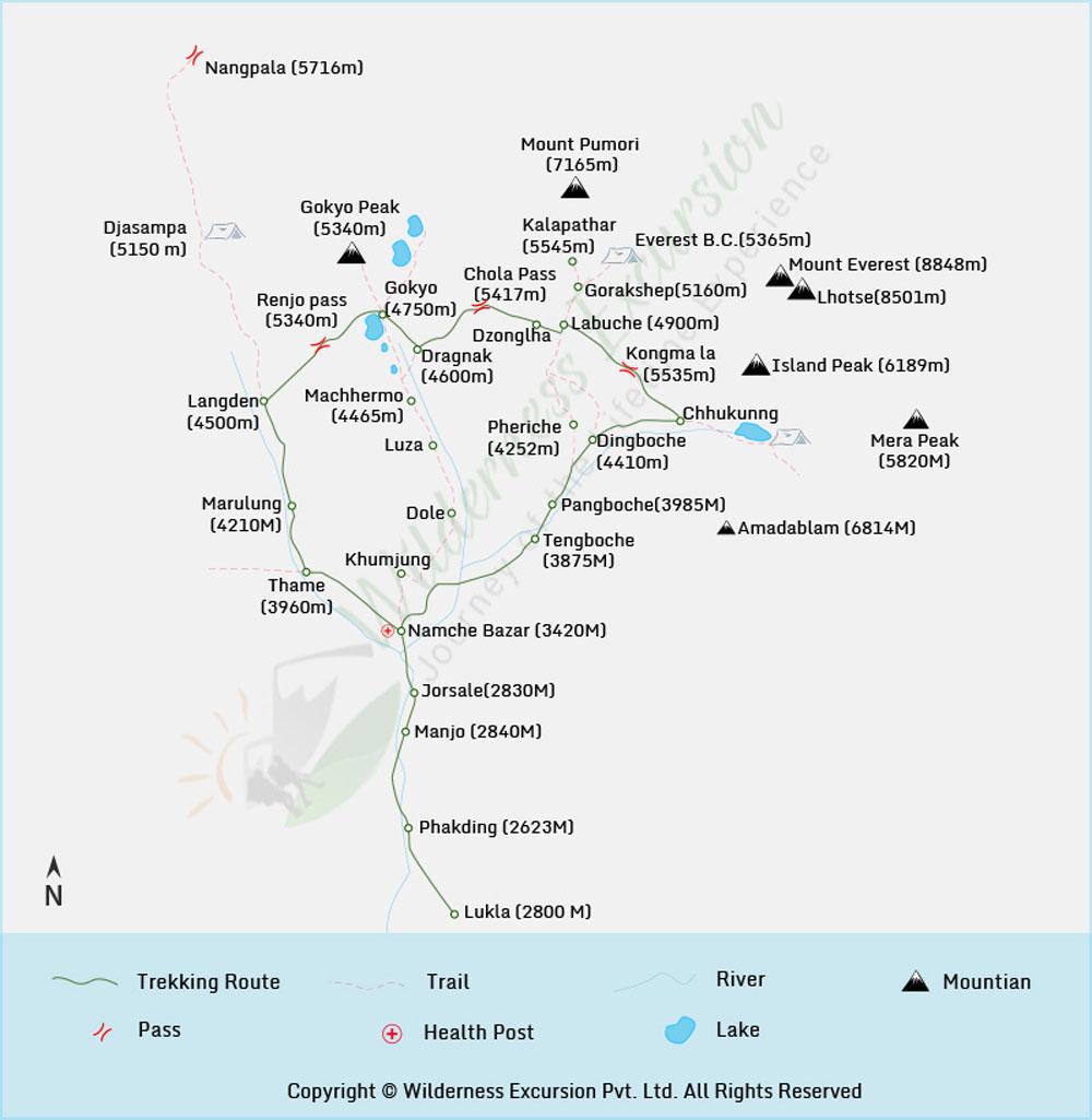 Everest Three High Passes Trekking Map