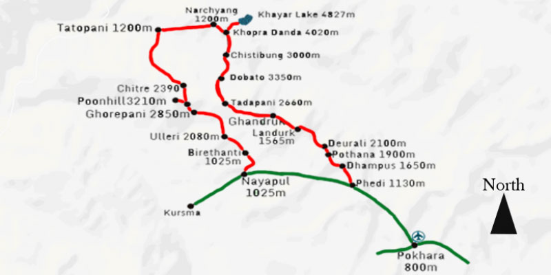 Khair Lake Trekking Map