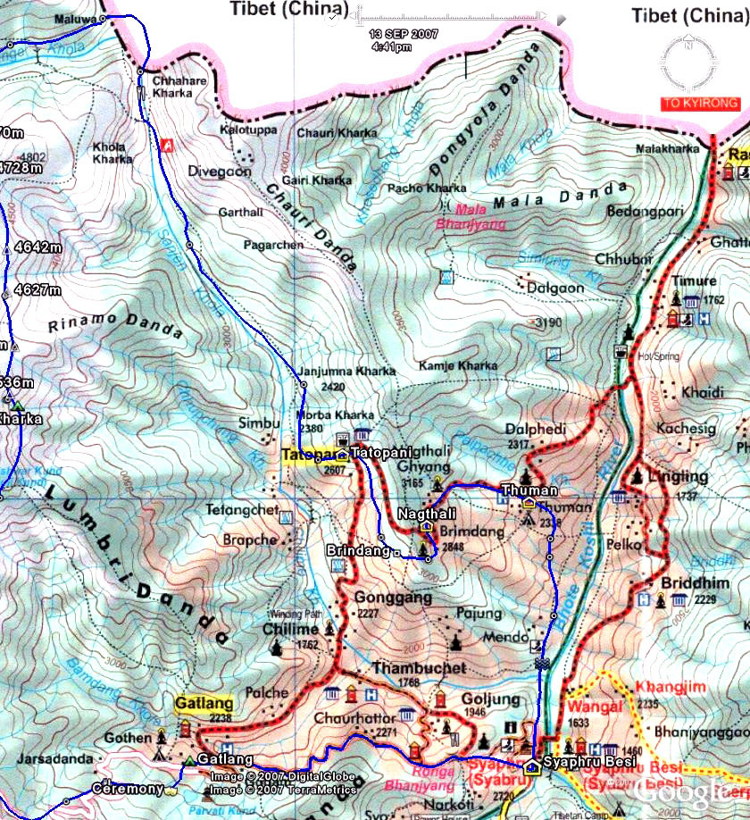 Tamang Heritage Trail Trek Map