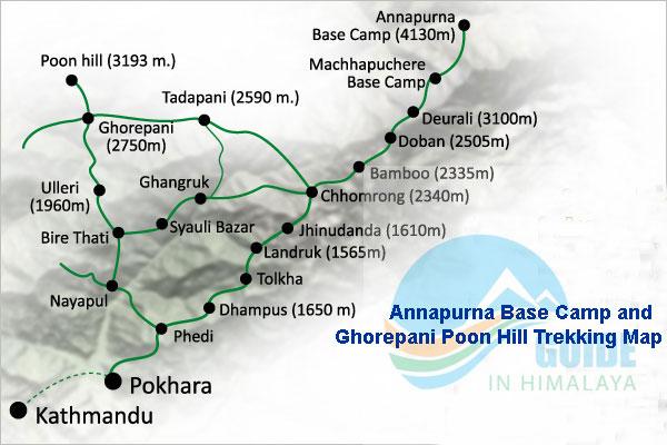 Ghorepani Poon Hill Trekking Map