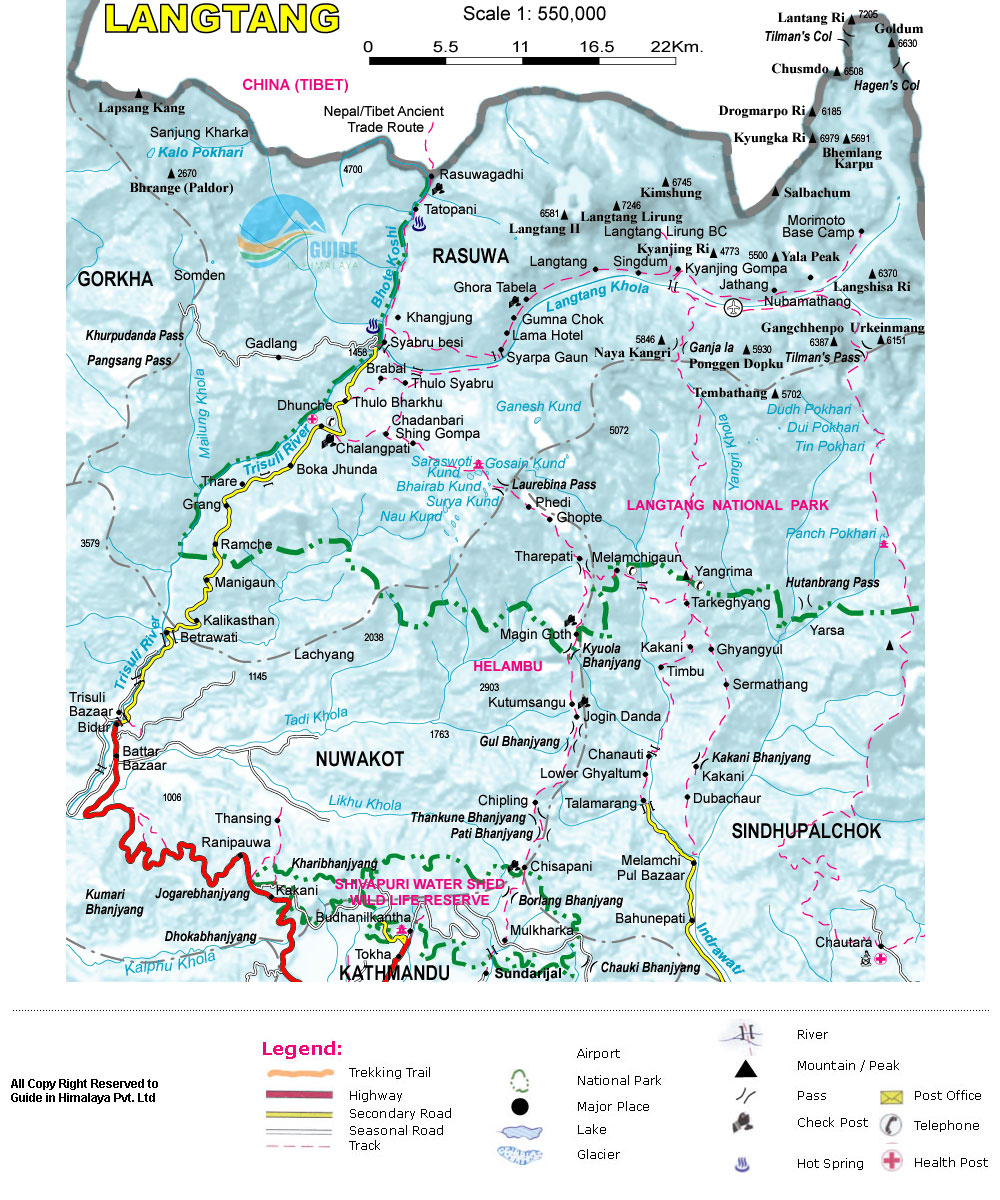 Tamang Heritage and Langtang Valley Trek Map