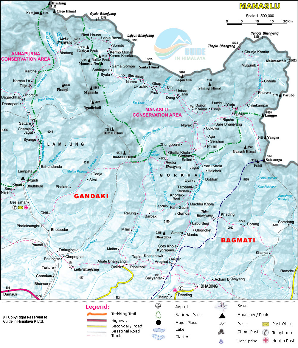 Manaslu Trek with Tsum Valley Map