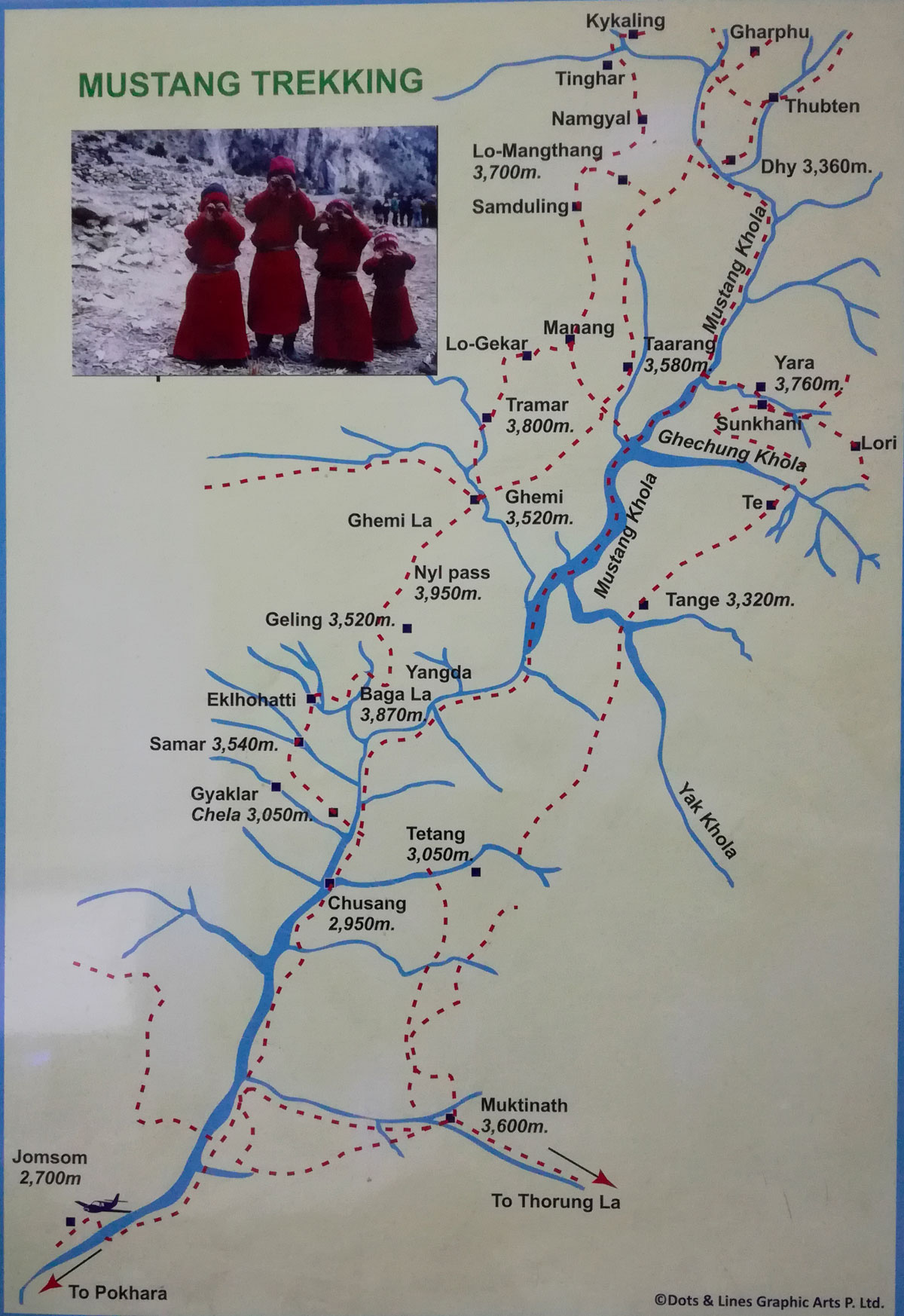 Upper Mustang Trekking Map